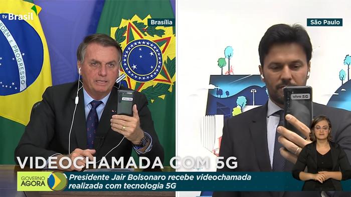 Videochamada realizada entre Fábio Faria e Bolsonaro foi feita com 5G Standalone (Imagem: Reprodução/TV Brasil)