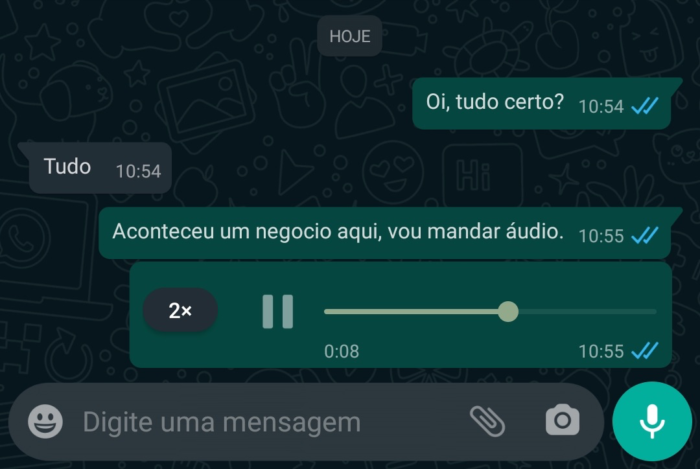 Opção do WhatsApp para acelerar a velocidade dos áudios (Imagem: Reprodução/Tecnoblog)
