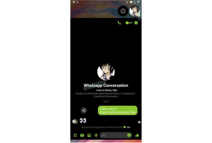 Possível interface do Facebook Messenger integrado ao WhatsApp (Imagem: Reprodução/Alessandro Paluzzi/Twitter)