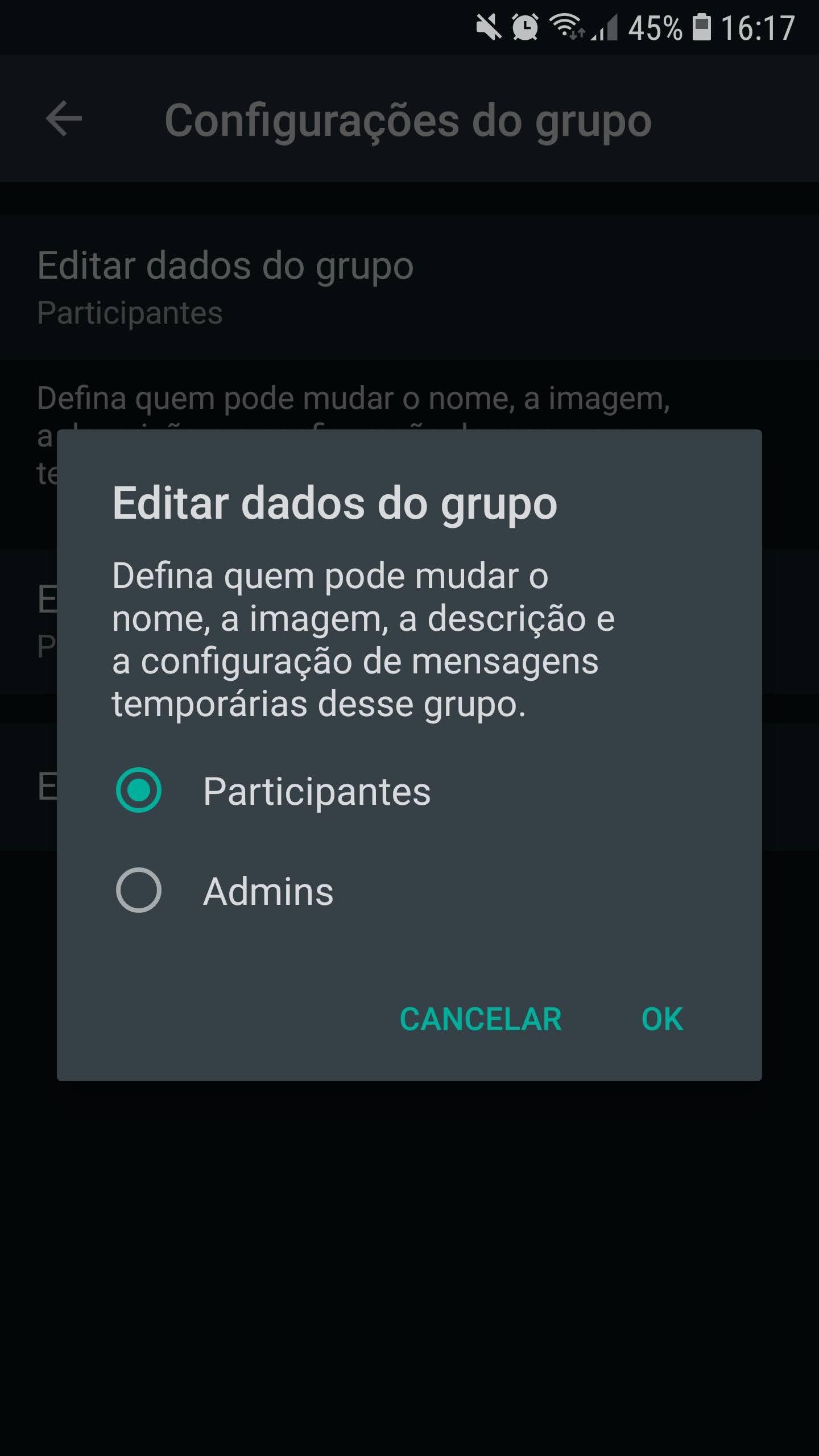Mensagens temporárias podem ser ativadas por qualquer participante do grupo (Imagem: Reprodução/WhatsApp)