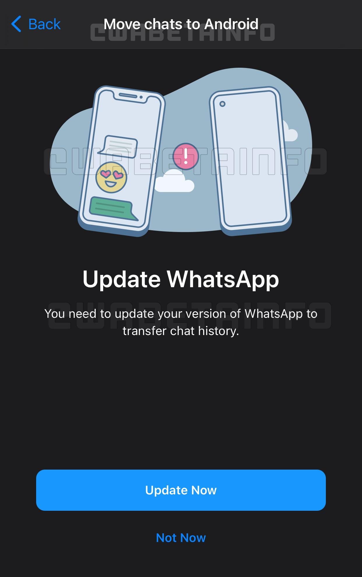 Recurso do WhatsApp para migrar chats do iPhone para Android (Imagem: Reprodução/WABetaInfo)