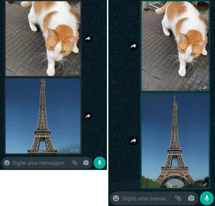 Antes e depois da mudança nas prévias de imagens no WhatsApp (Imagem: Reprodução)