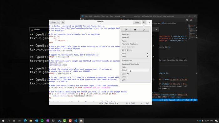 gedit do Linux rodando no Windows 10 (Imagem: Divulgação / Microsoft)