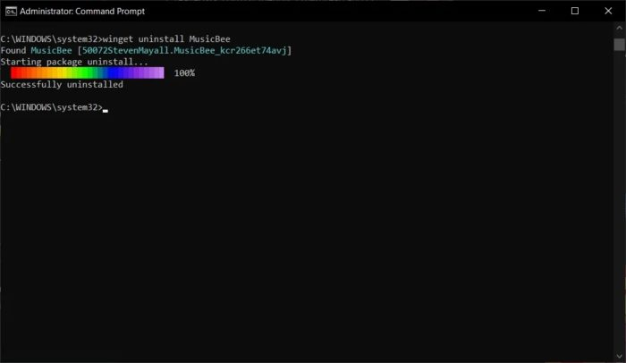 Desinstalando software via winget (imagem: Bleeping Computer)