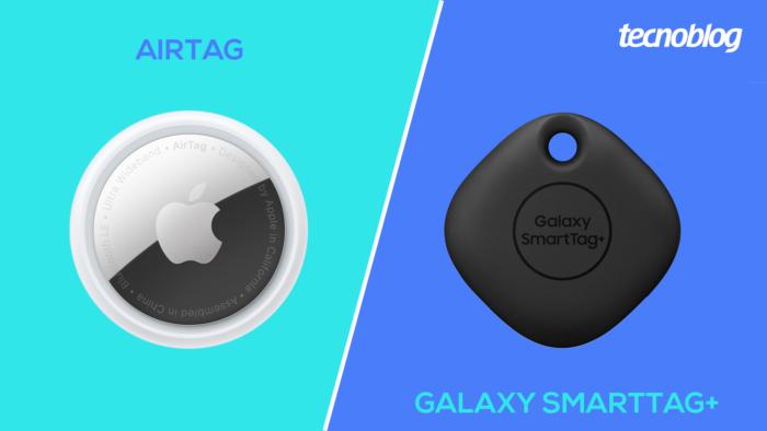 AirTag vs <a href='https://meuspy.com/tag/Espionar-Galaxy'>Galaxy</a> SmartTag+ (Imagem: Vitor Pádua/Tecnoblog)