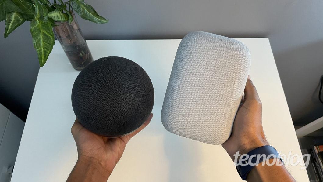 Amazon Echo (Alexa) e Google Nest Audio (Google Assistente (Imagem: Darlan Helder/Tecnoblog)