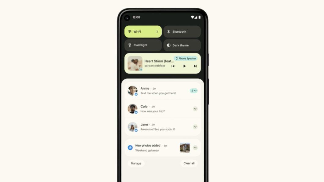 Notificações no <a href='https://meuspy.com/tag/Espiao-para-Android-gratis'>Android</a> 12 (Imagem: Divulgação / Google)
