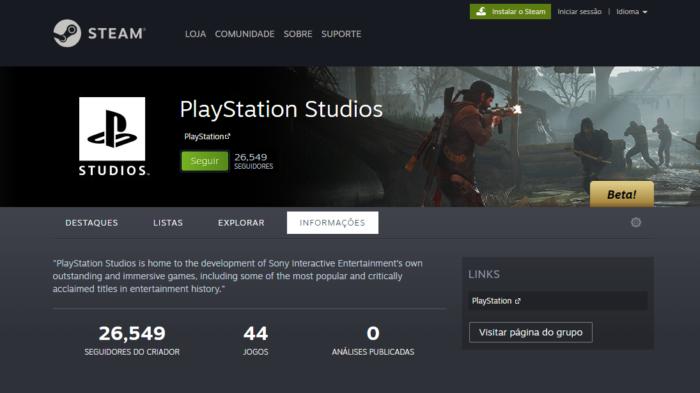 Página de criador do PlayStation Studios no Steam (Imagem: Murilo Tunholi/Tecnoblog)