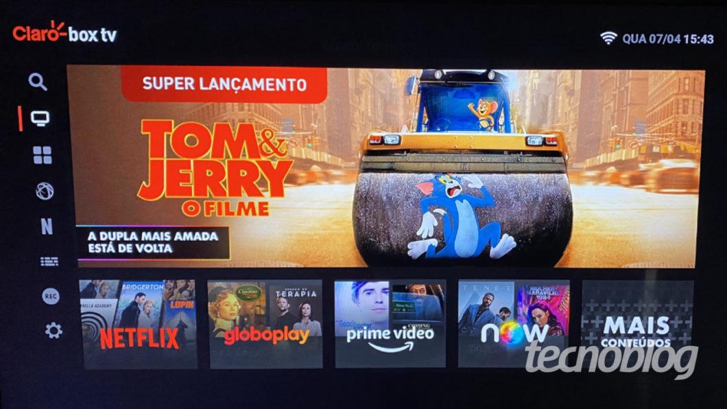 Claro Box TV home screen (Image: Lucas Braga / Tecnoblog)