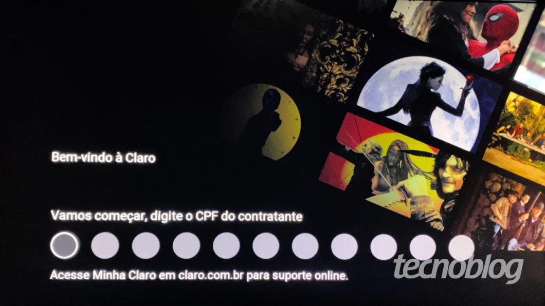 Initial configuration of Claro Box TV (Image: Lucas Braga / Tecnoblog)