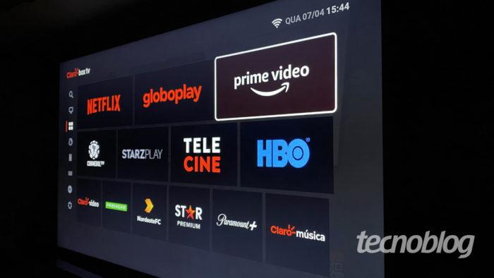 """Lista de """"aplicativos"""" do Claro Box TV (Imagem: Lucas Braga/Tecnoblog)"""