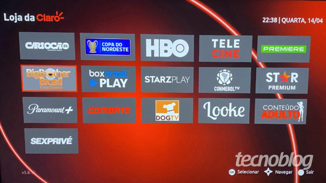 Claro Box TV content store (Image: Lucas Braga / Tecnoblog)