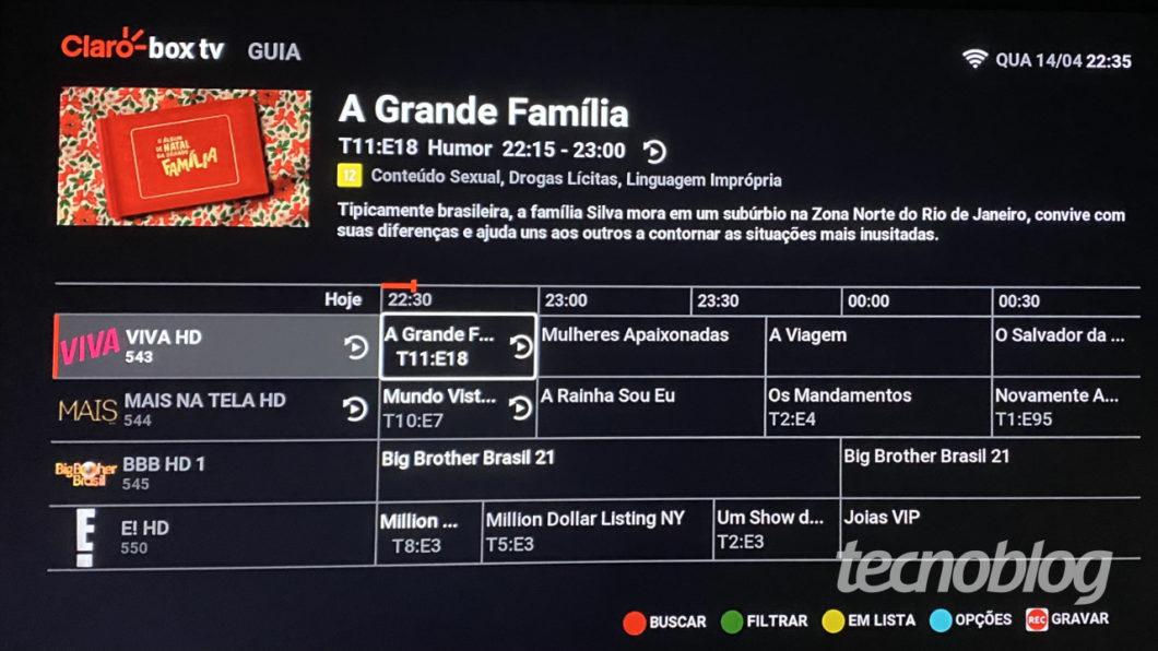 Claro Box TV programming guide (Image: Lucas Braga / Tecnoblog)