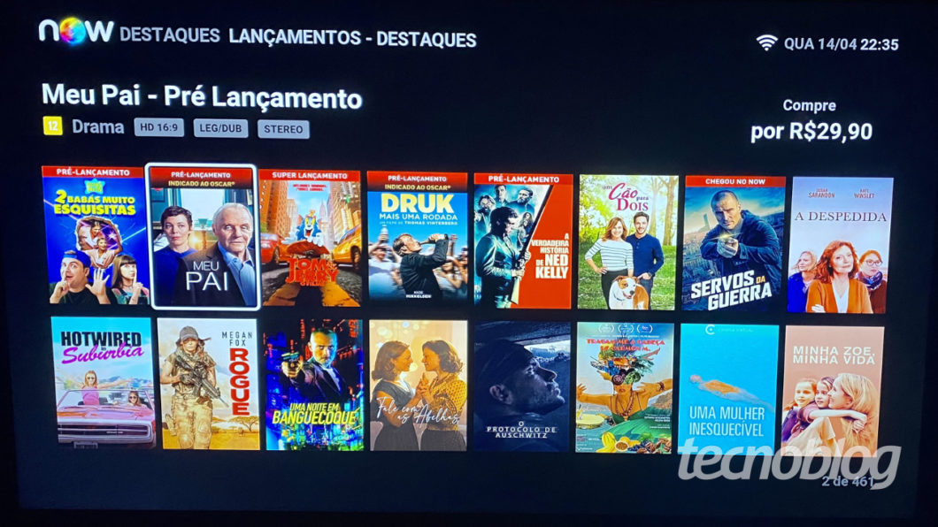 NOW has content for purchase, rental and streaming on demand from linear channels (Image: Lucas Braga / Tecnoblog)