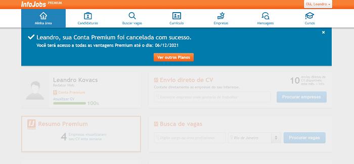 Como funciona o cancelamento do Infojobs (Imagem: Leandro Kovacs/Reprodução)