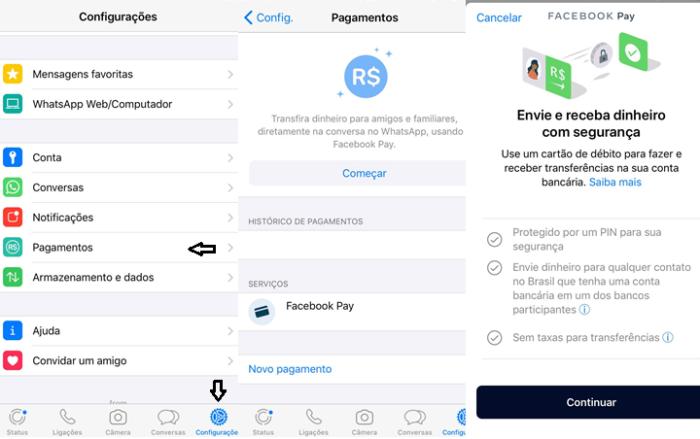 Acesse o Facebook Pay nas configurações do app (Imagem: Reprodução/WhatsApp)