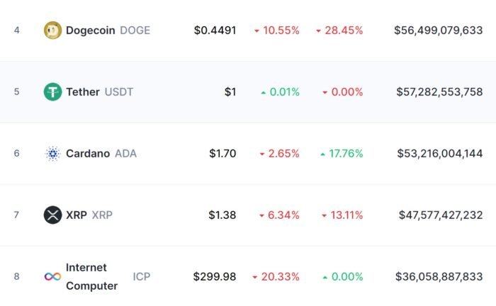 Internet Computer (ICP) is already the eighth cryptocurrency with the highest market value (Image: Reproduction / CoinMarketCap)