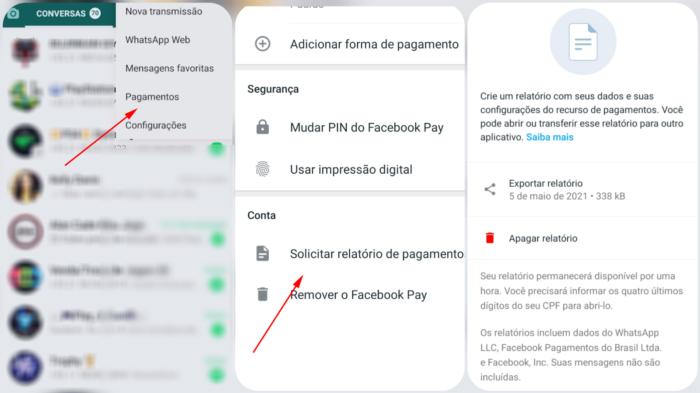 Como baixar os dados da sua conta de pagamentos do WhatsApp