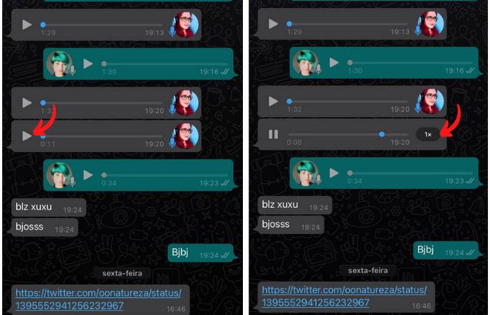 Como acelerar áudio no WhatsApp (Imagem: Reprodução/WhatsApp)