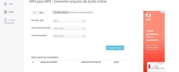 O Aconvert é outro site que oferece ajustes como taxa de bits (Imagem: Reprodução / Aconvert)