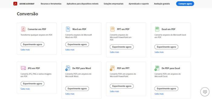 É possível converter arquivos em PDF através do site da Adobe (Imagem: Reprodução / Adobe)