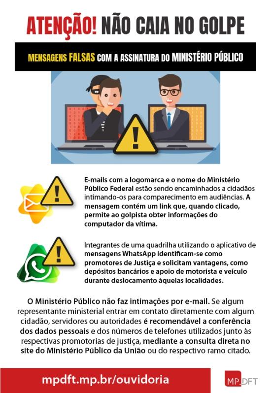 Alerta sobre golpes por WhatsApp e e-mail (imagem: divulgação/MPDFT)