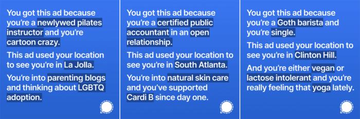 Anúncios elaborados pelo Signal para exibição no Instagram (Imagem: Divulgação/Signal)