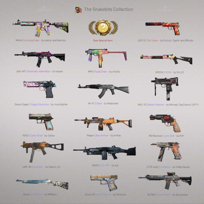 As skins de armas da Operação Stars, de CS:GO (Imagem: Divulgação/Valve)