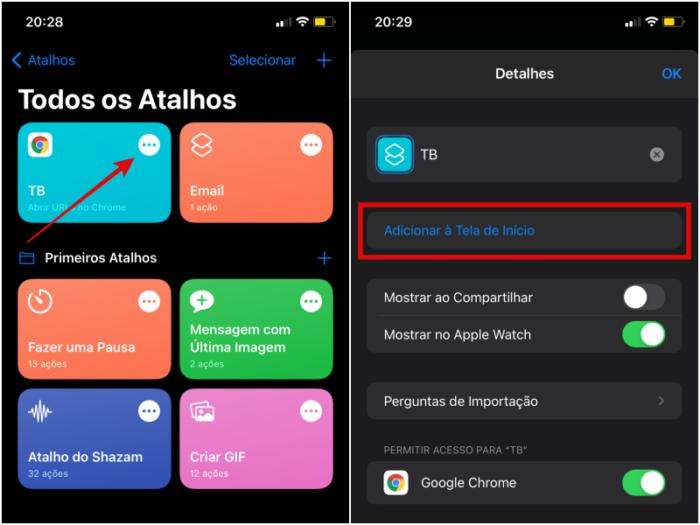 Adicione o atalho criado à tela de Início do iPhone (Imagem: Reprodução/iOS)