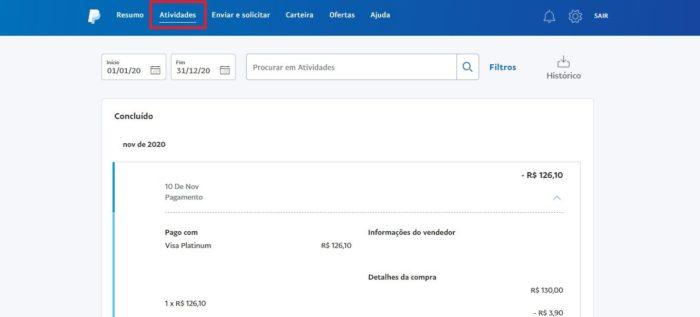 Para os pagamentos já concluídos, você pode pedir um reembolso ao vendedor (Imagem: Reprodução / PayPal)