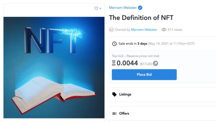 Merriam-Webster vende definição de NFT como um NFT (Imagem: Reprodução/OpenSea)