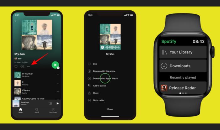 Etapas para baixar playlists ou álbuns do Spotify para ouvir offline no Apple Watch (Imagem: Divulgação/Spotify)