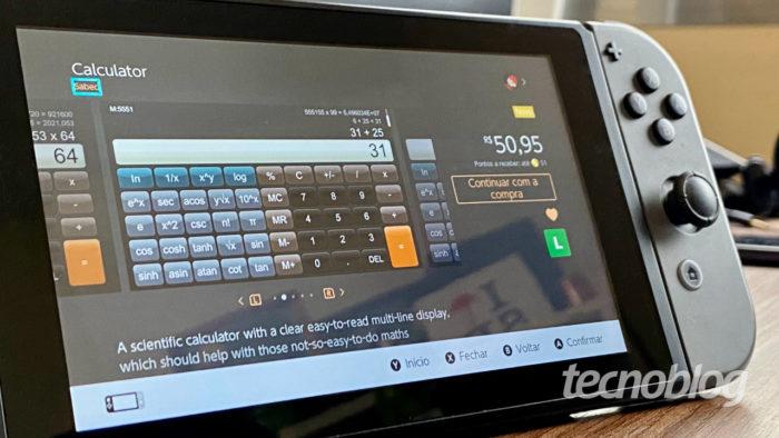 App de calculadora para o Nintendo Switch (imagem: André Fogaça/Tecnoblog)