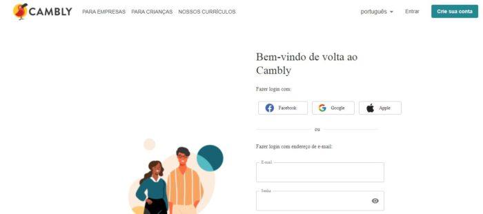 Crie sua conta para acessar o Cambly (Imagem: Reprodução / Cambly)