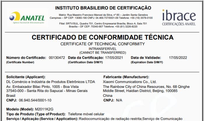 Certificado de homologação do Xiaomi Mi 11 (Imagem: Reprodução/Anatel)