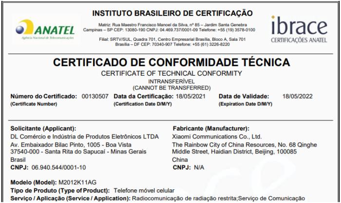 Certificado de conformidade técnica do Poco F3 (Imagem: Reprodução/Anatel)