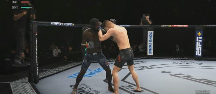 Use o clinche para recuperar o vigor e esfriar a luta (Imagem: Reprodução / UFC 4)