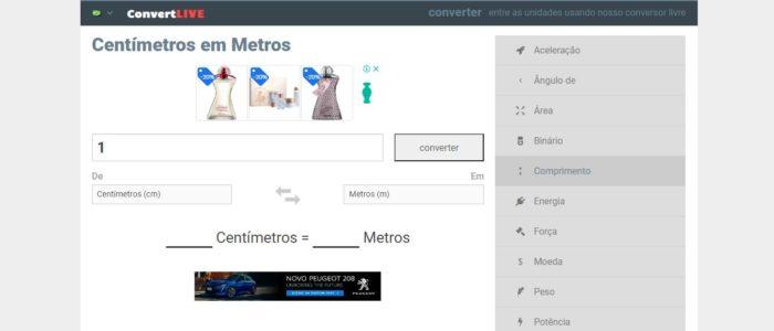 No Convert Live você encontra uma tabela com algumas conversões (Imagem: Reprodução / Convert Live)