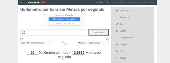 O Convert Live exibe as conversões que você deseja e uma tabela com valores já definidos (Imagem: Reprodução / Convert Live)