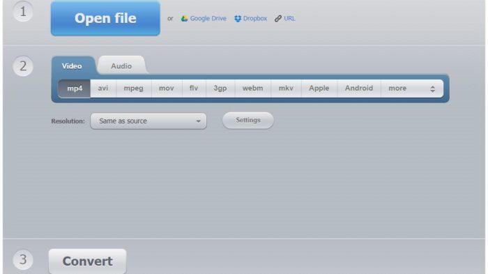 Convert Video Online, outro site que oferece conversão de diversos formatos de vídeo (Imagem: Reprodução / Convert Video Online)