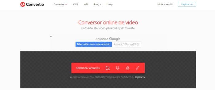 Convertio, site para converter vídeos online (Imagem: Reprodução / Convertio)