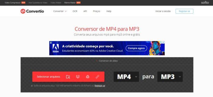 O Convertio te ajuda na conversão online de arquivos MP4 para o formato MP3 (Imagem: Reprodução / Convertio)