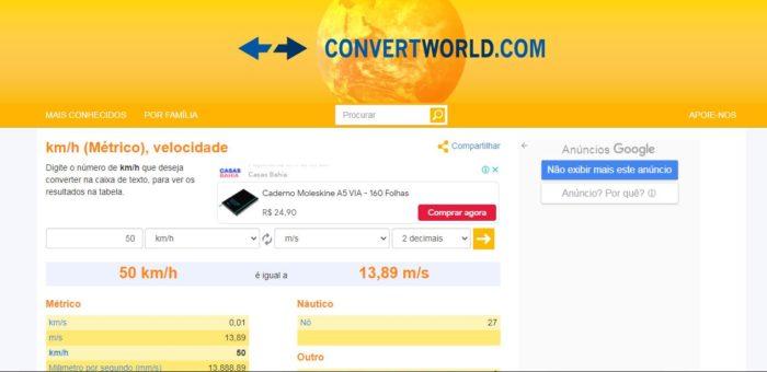 O Convert World tem conversão de km/h para m/s e outras unidades (Imagem: Reprodução / Convert World)