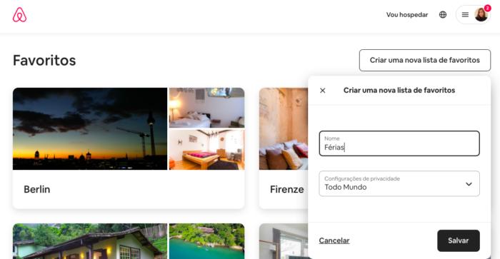 Como criar uma lista de favoritos no Airbnb (Imagem: Reprodução/Airbnb)