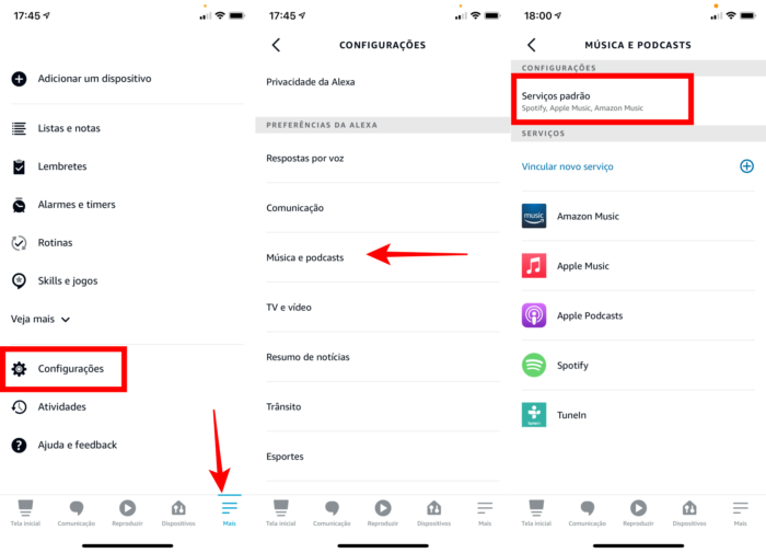 Definir Apple Music como reprodutor padrão no Amazon Echo (Imagem: Reprodução/Amazon Alexa)