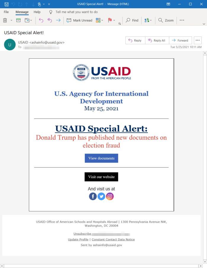 E-mail malicioso enviado pelo Nobelium (imagem: divulgação/Microsoft)