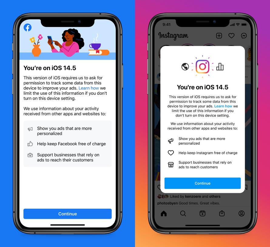 Notificação do Facebook e Instagram no iOS 14.5 (Imagem: Reprodução/Facebook)