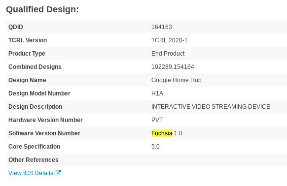 Certificação da Bluetooth SIG para Google Nest Hub menciona Fuchsia 1.0 (Imagem: Reprodução/9to5Google)