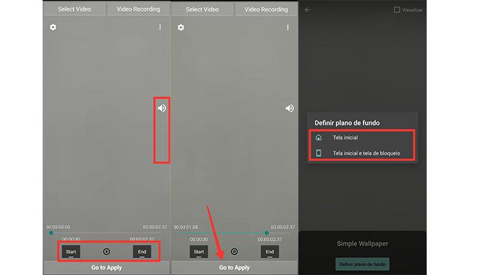Processo para colocar um GIF na tela de bloqueio do Android (Imagem: Reprodução/Video Live Wallpaper Setting)