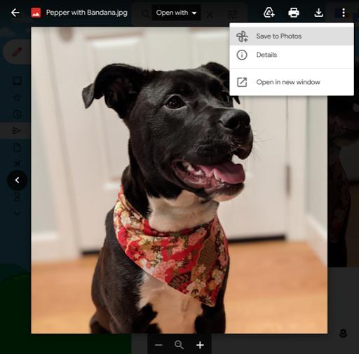 Opção para salvar fotos do Gmail no Google Fotos em anexos (Imagem: Reprodução/Google)